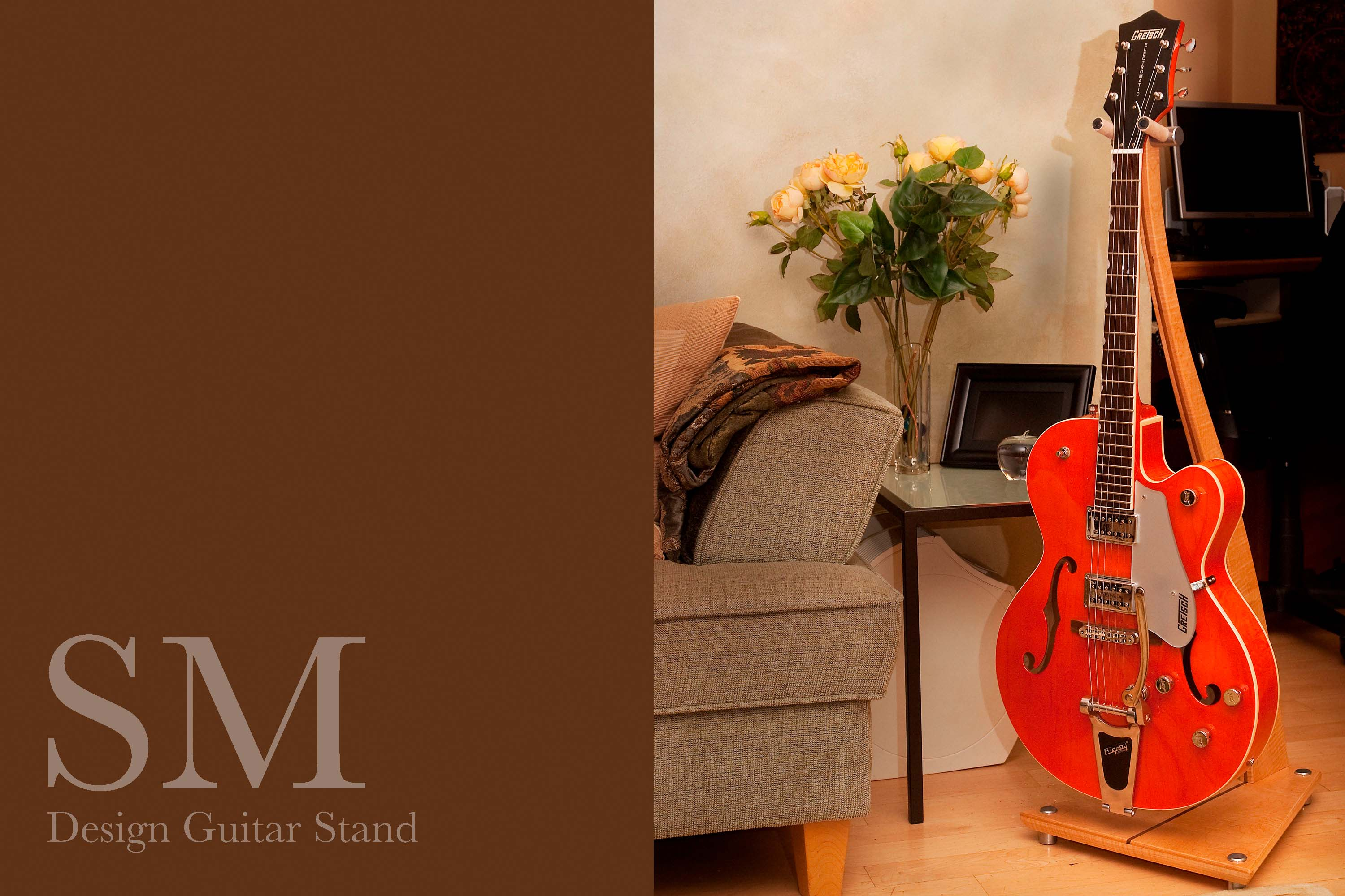 SM Guitar Stand in curly maple with metal feet.