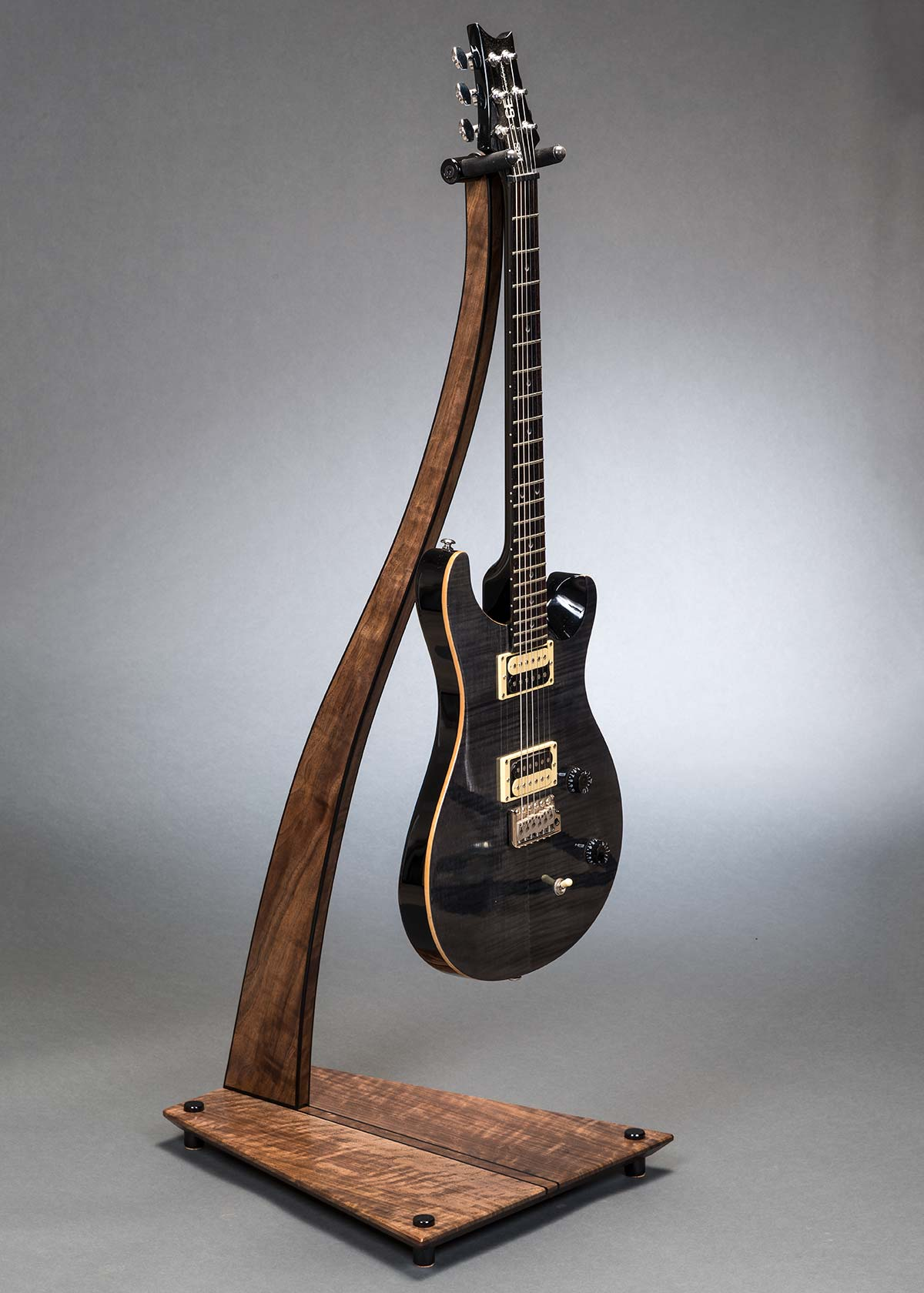 SM Guitar Stand in Claro Walnut with Ebony Inlay and Edge Binding