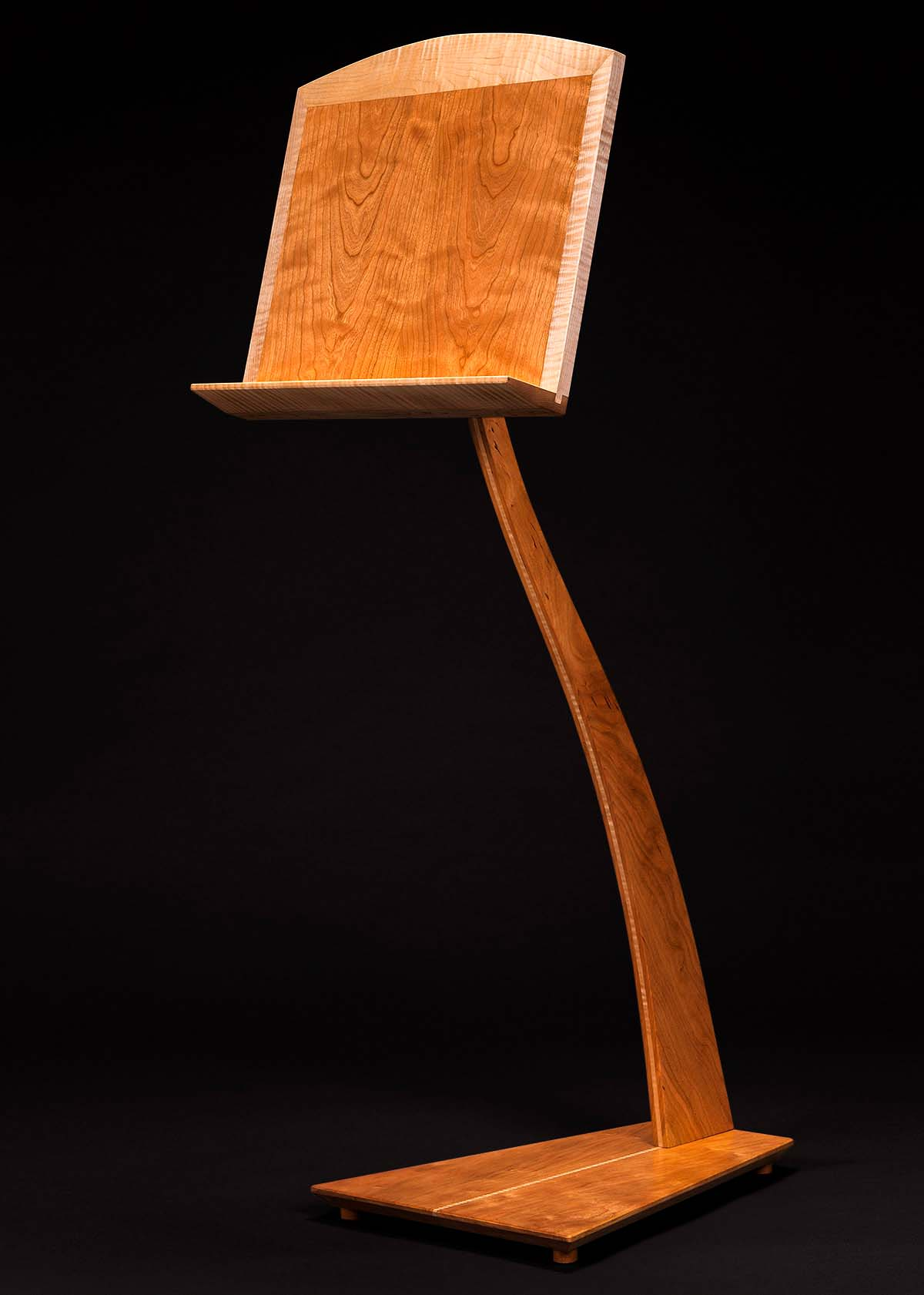 SM Music Stand - Cherry with Curly Maple Inlay