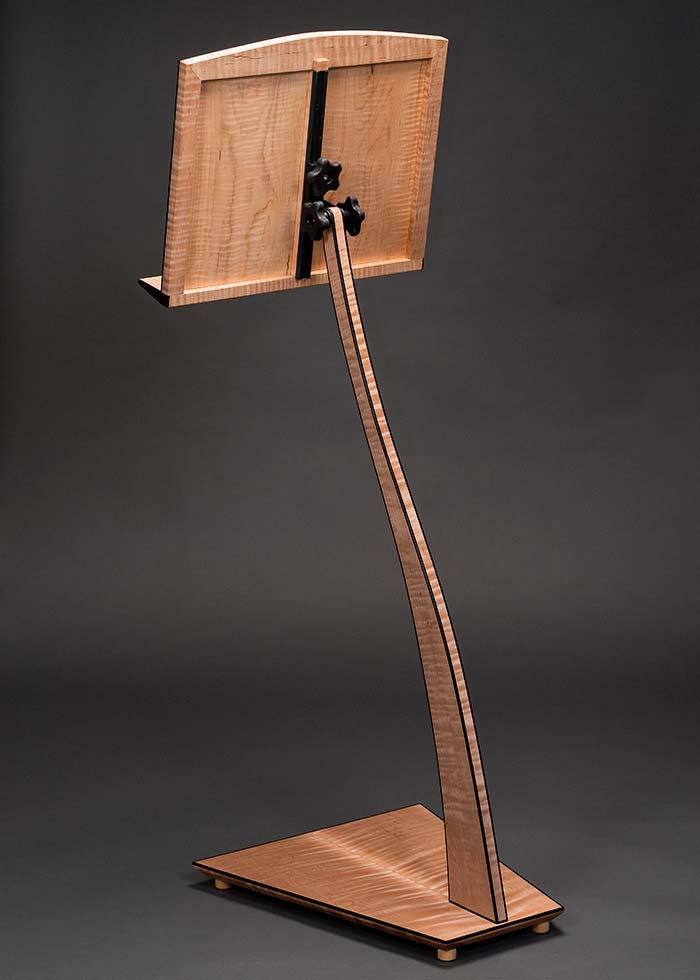 SM Music Stand in Curly Maple Rear View
