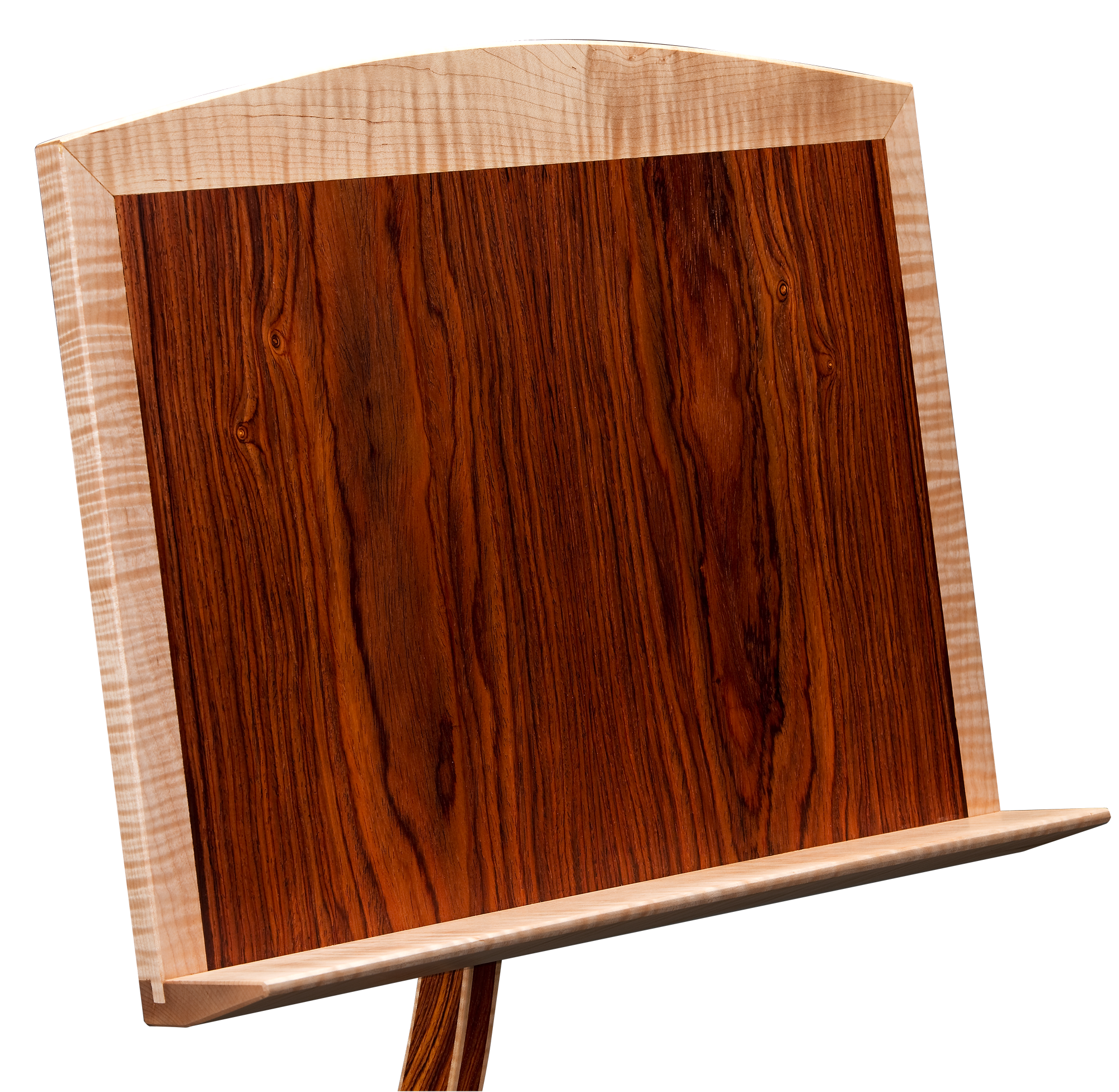 Music stand in cocobolo with curly maple trim.