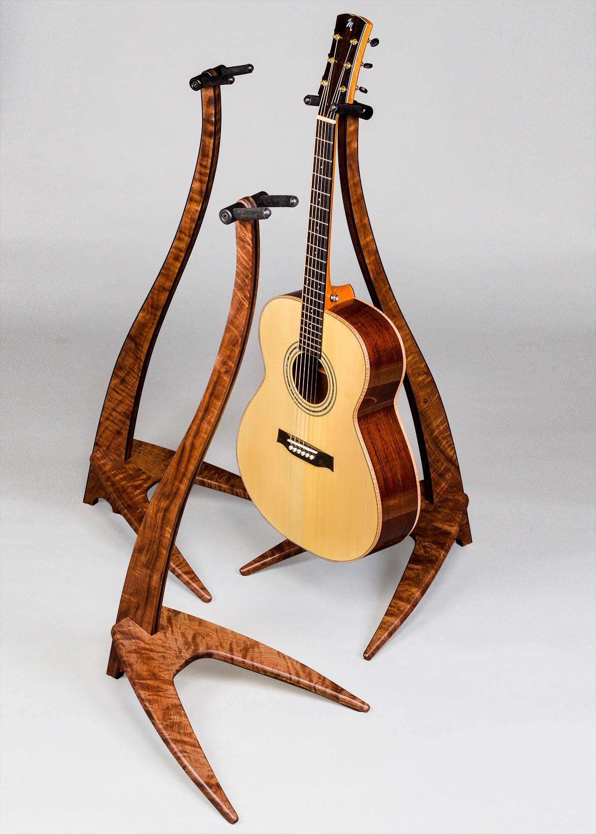 WM Guitar Stand in Claro Walnut with Ebony Inlay and Binding