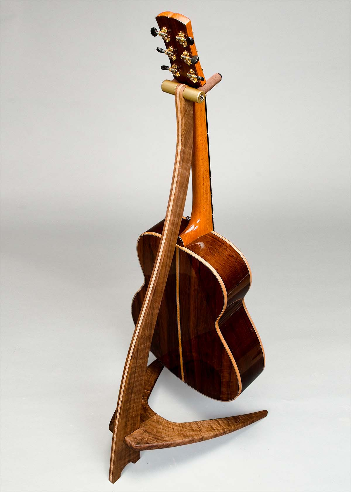 WM Guitar Stand in Claro Walnut with Curly Maple Inlay