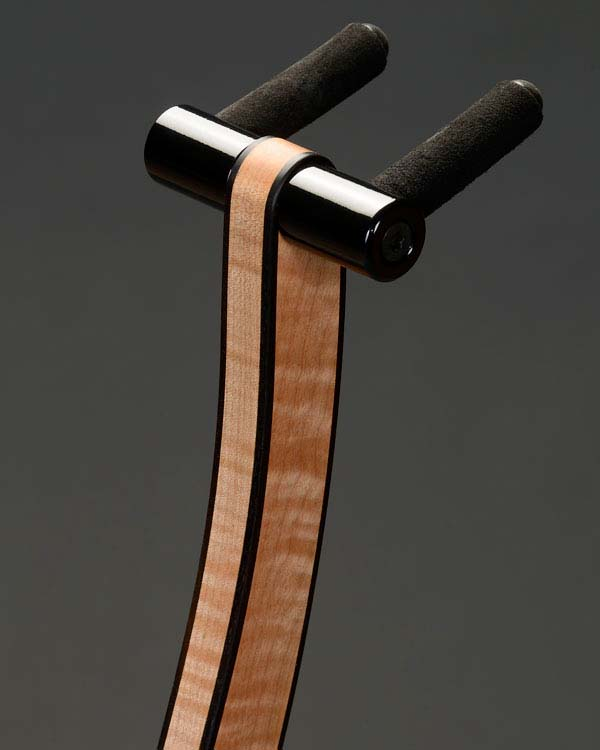 Curly maple with ebony edge binding. Mirror black powdercoating.