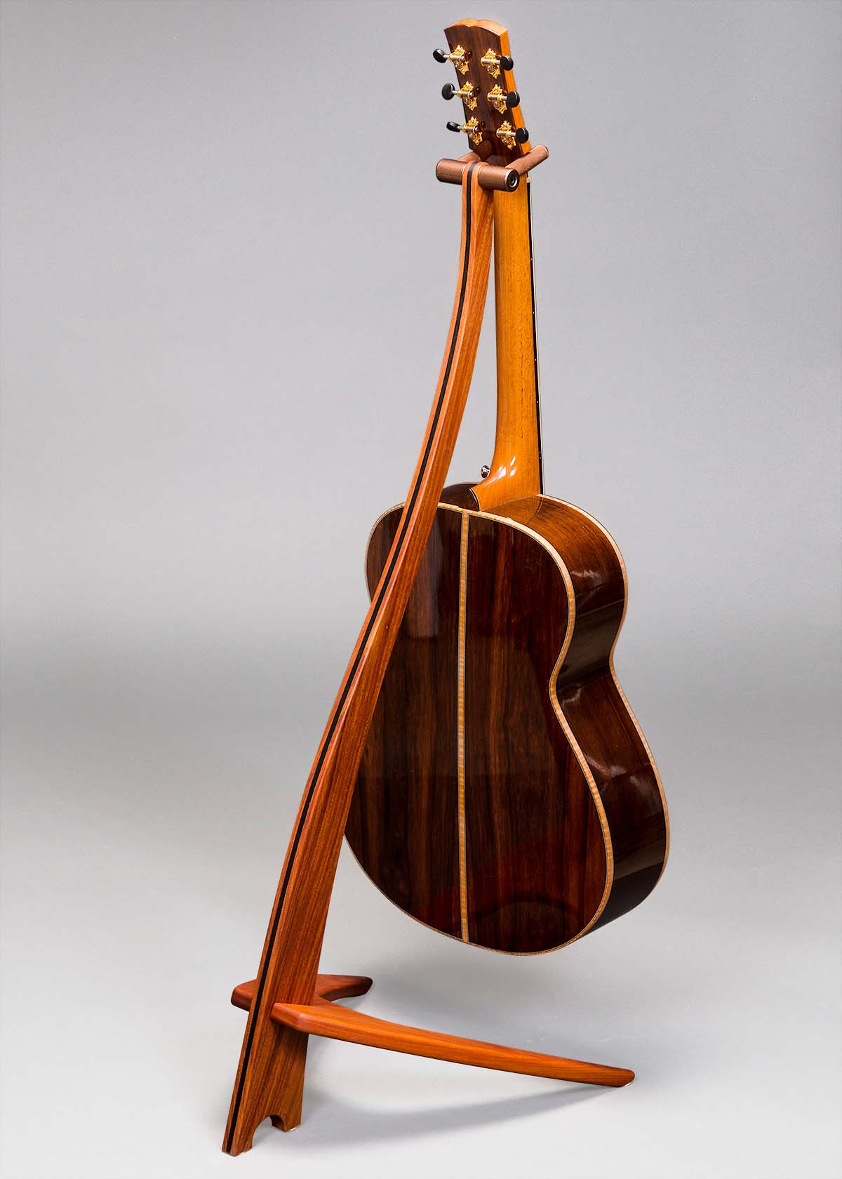 WM Guitar Stand in Santos Mahogany with Ebony Inlay