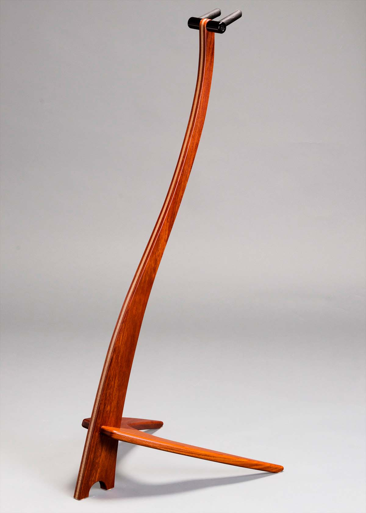 WM Guitar Stand in Santos Mahogany with Curly Maple Inlay