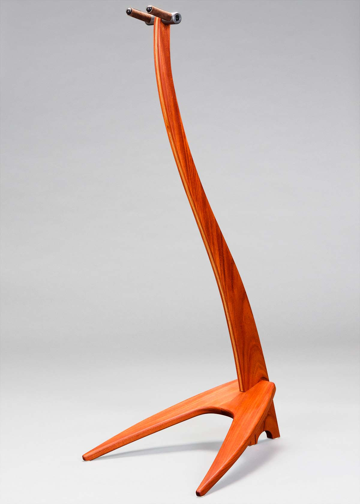 WM Guitar Stand in Santos Mahogany with Red Oak Inlay