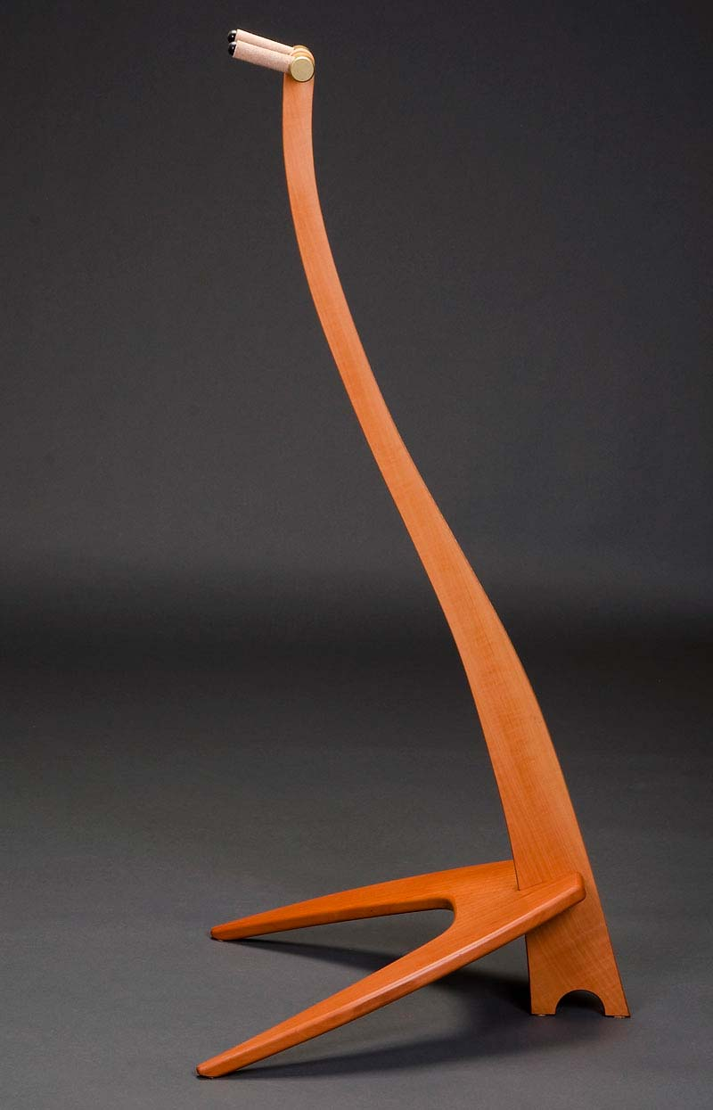 WM Guitar Stand in Swiss Pear w/ Curly Maple Inlay