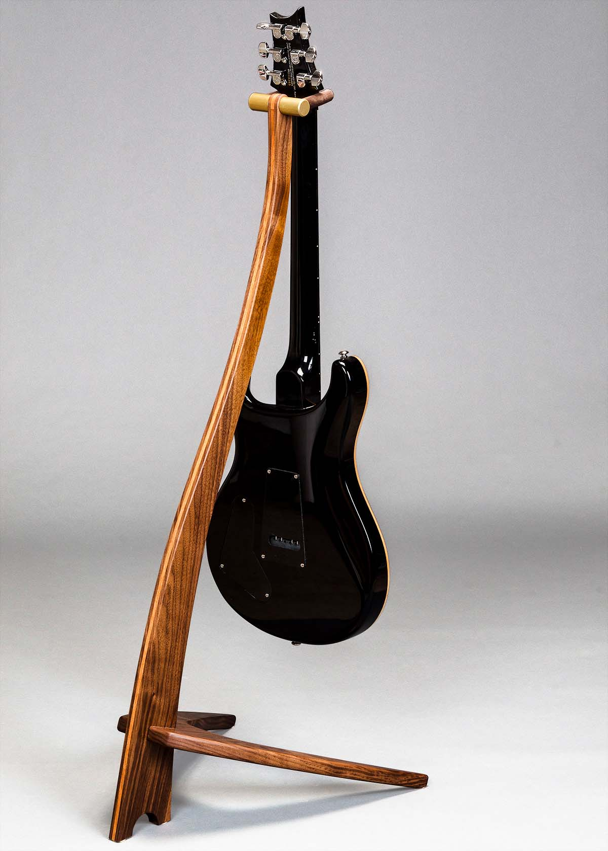 WM Guitar Stand in Walnut with Cherry Inlay