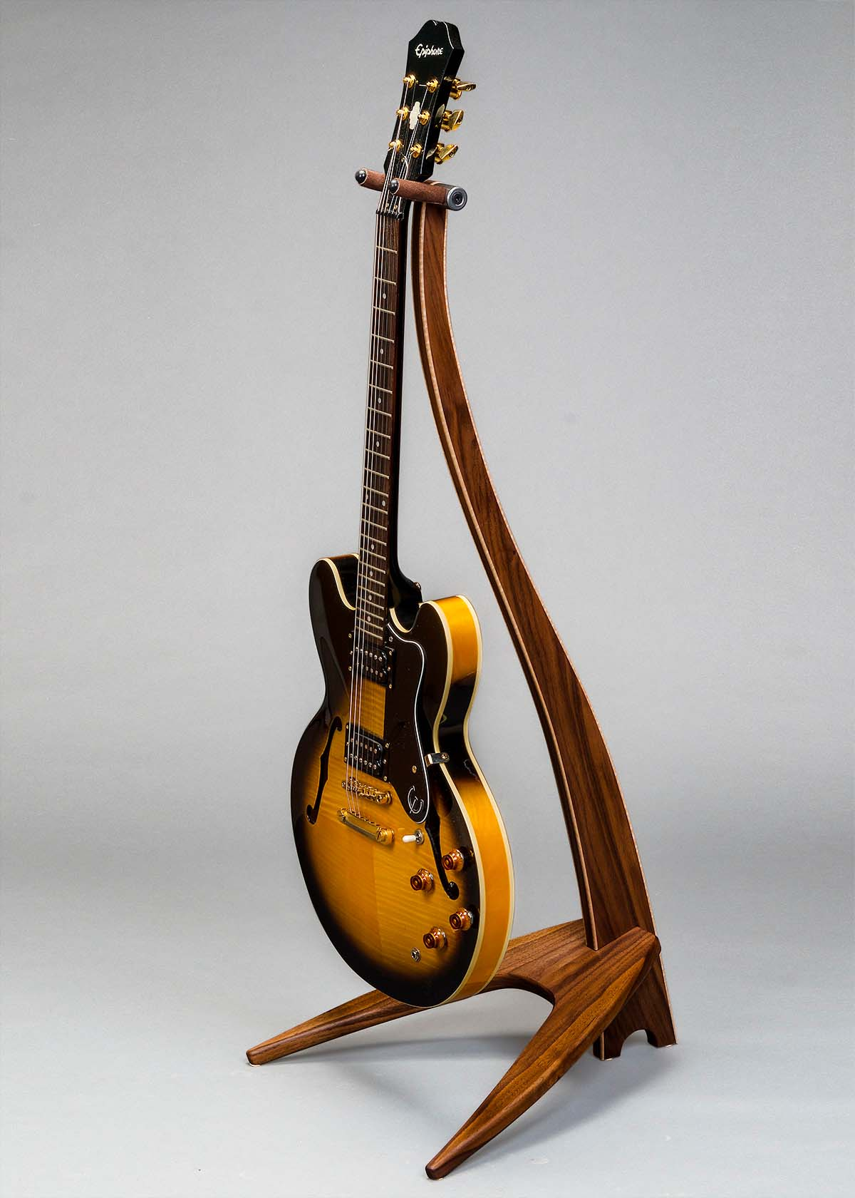 WM Guitar Stand in Walnut with Curly Maple Binding